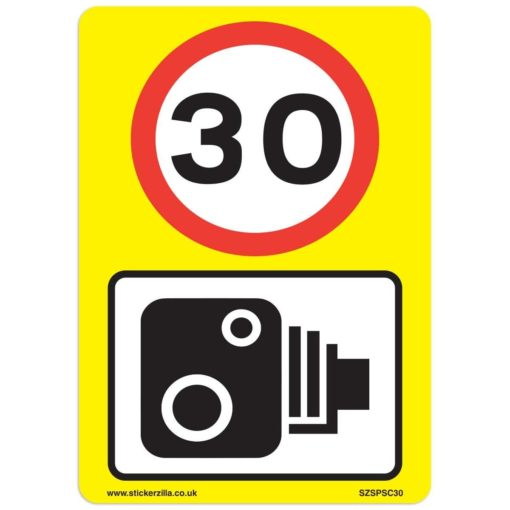 30 Mph & Speed Camera Signs [9 X Pack] - A4 Vinyl Stickers, Yellow  Background Ideal For Wheelie Bins