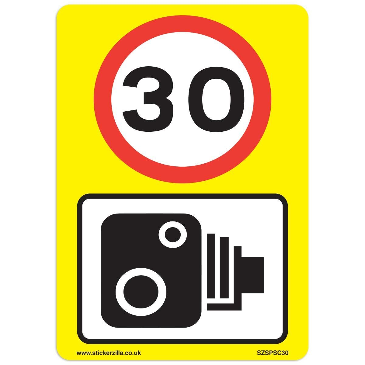 30 mph speed camera signs 9 x pack a4 vinyl stickers yellow background ideal for wheelie bins