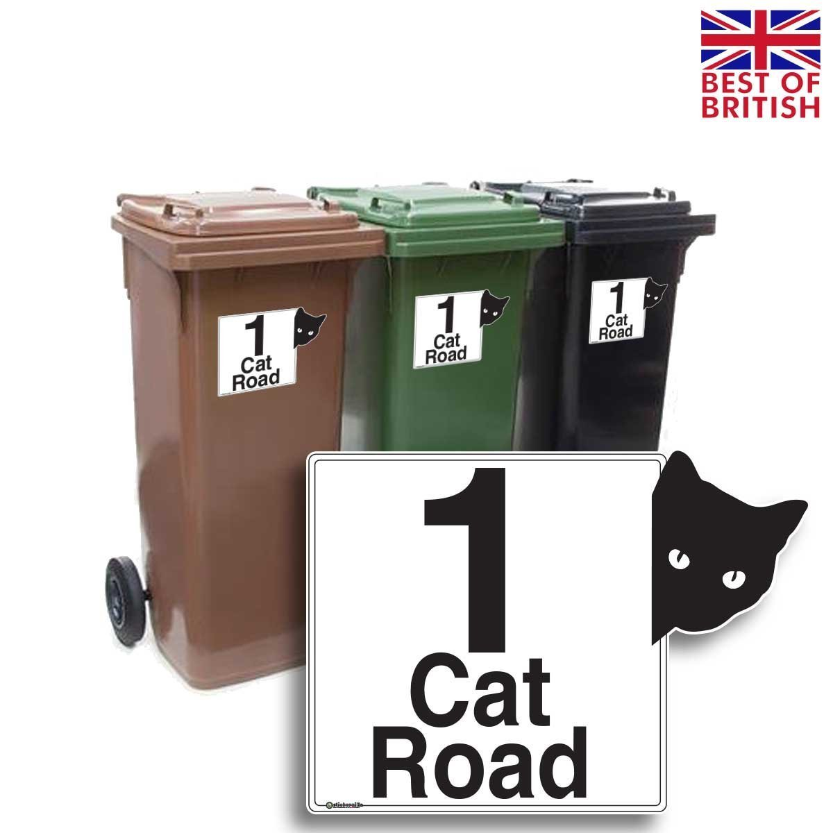 4 Pack A6 x Personalised Wheelie Bin Stickers//Vinyl Labels with House Number /& Street Name