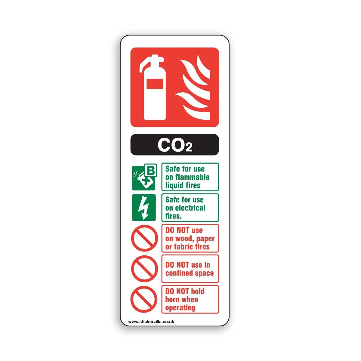Co2 Fire Extinguisher Id Sign 75mm X 200 Adhesive