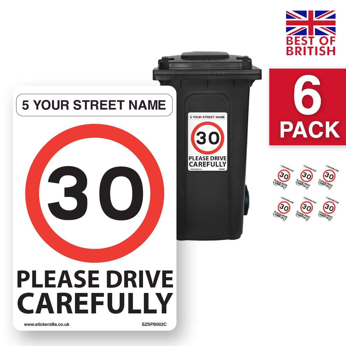 Custom address a4 wheelie bin vinyl stickers 30mph speed notice 6 x pack a4 200mm w x 300mm h white background