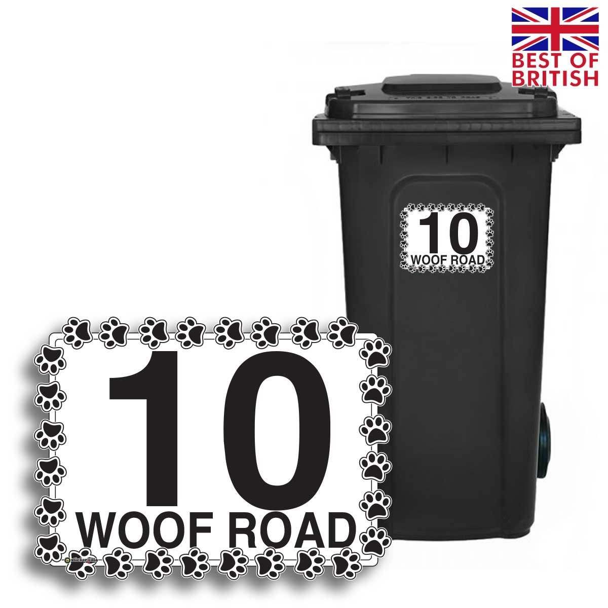 A5 4 x pack dog paws personalised wheelie bin sticker vinyl labels with house number street name
