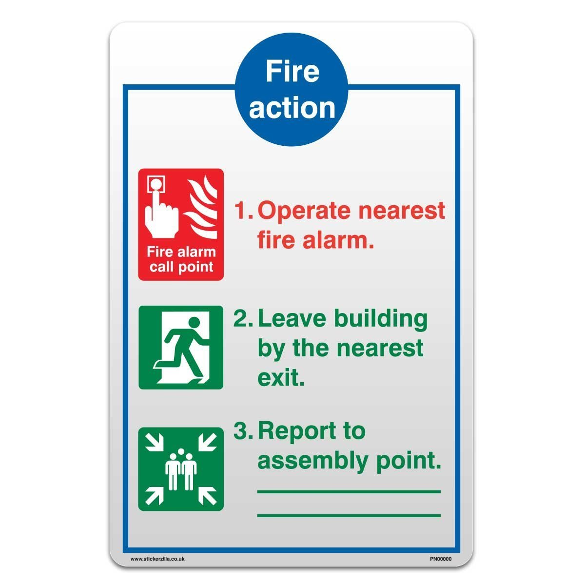 Fire Action Sign Self Adhesive Vinyl Safety Sticker