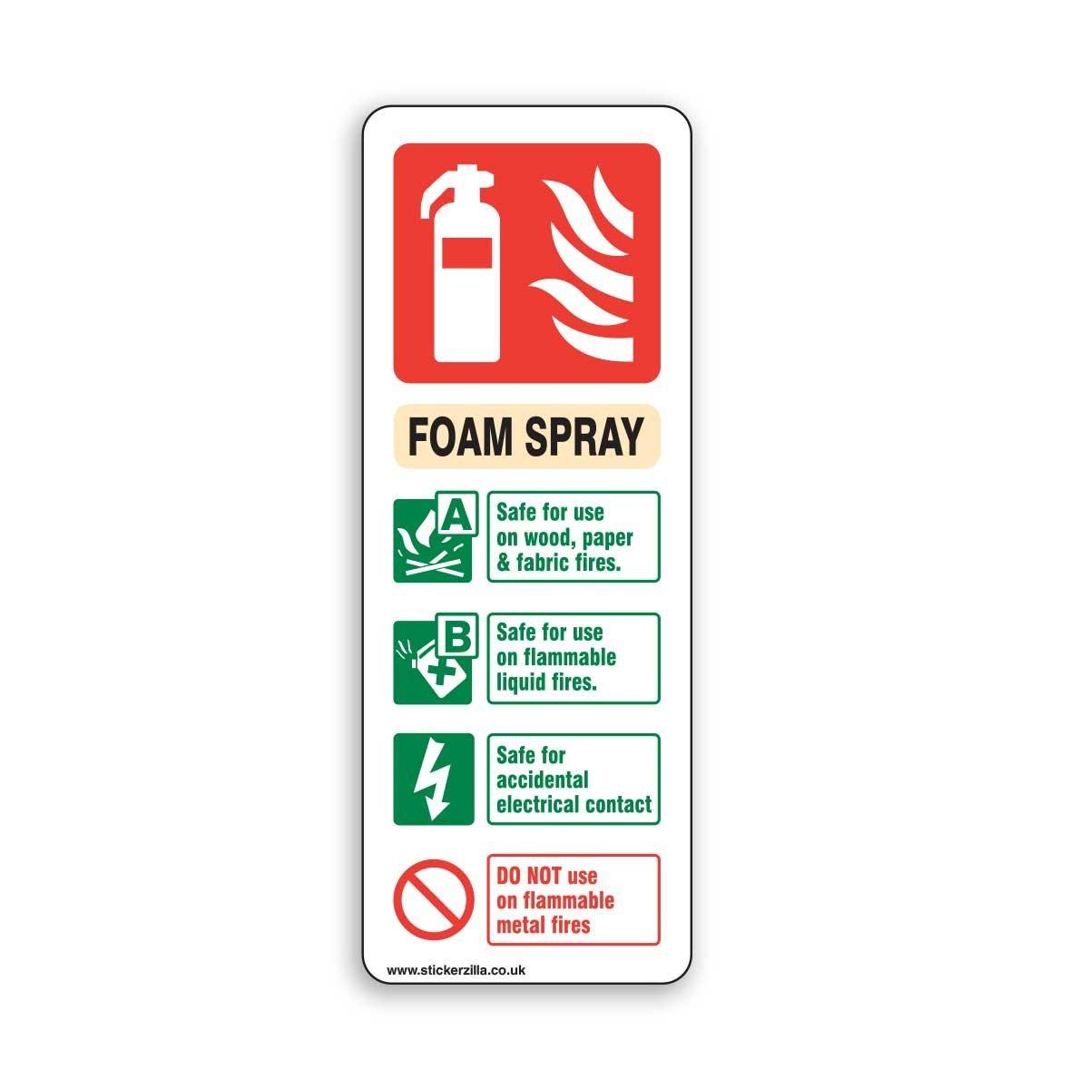 Polyurethane Foam Signs : Foam spray fire extinguisher id sign mm