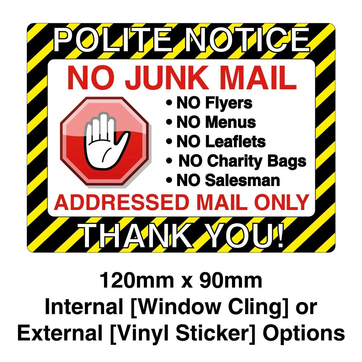 No Junk Mail Sign Vinyl Sticker Or Window Cling Options