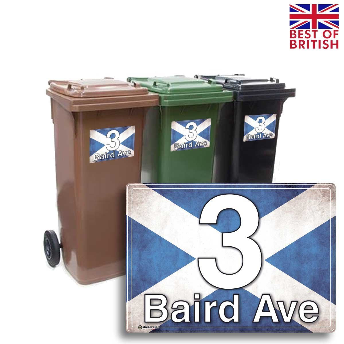 A5 4 x pack scottish flag rustic style personalised wheelie bin sticker vinyl labels with house number street name