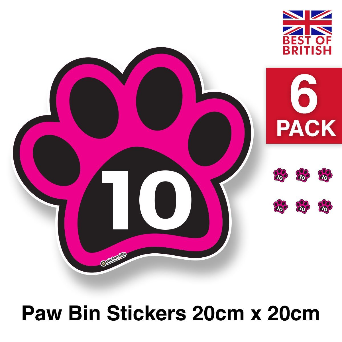 Large paw print personalised wheelie bin sticker vinyl labels with house number 21cm x 20cm
