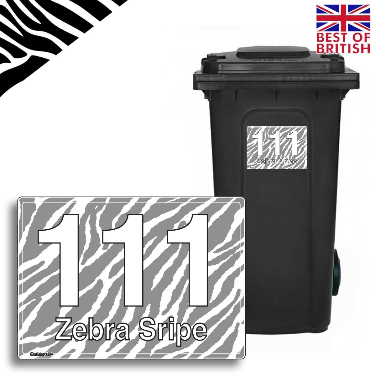 A5 4 x pack zebra personalised wheelie bin sticker vinyl labels with house number street name